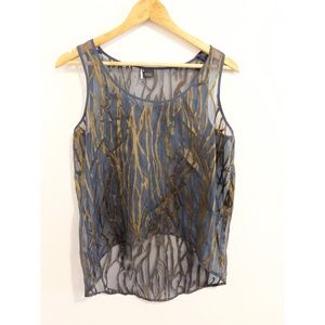 Sparkle and Fade Blue and Green Sheer Tank